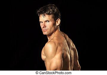 shirtless, muskularny, człowiek