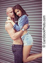 shirtless, portante, modello, femmina, uomo