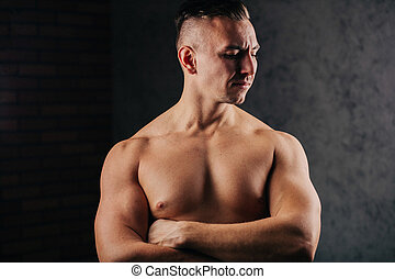shirtless, roupa interior, muscular, homem