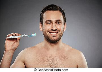 shirtless, spazzolino, presa a terra, ritratto, uomo, felice
