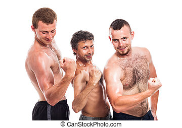 Shirtless sportsmen posing