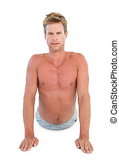 shirtless, stiramento, attraente, uomo