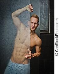 shirtless, unge, brusebad, glas, bag efter, mand, pæn