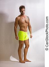 shirtless, uomo, estratti, muscolare, bello