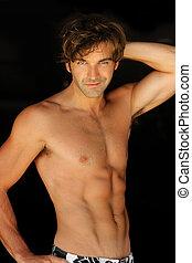 shirtless, uomo, felice