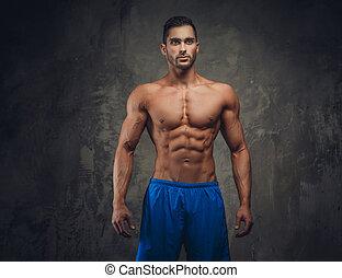 shirtless, uomo, muscolare, posing.