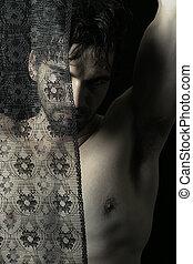 shirtless, uomo, nero, laccio, dietro