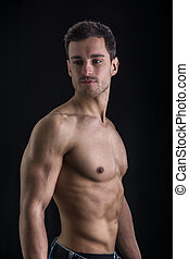 shirtless, uomo, nero, muscolare, bello