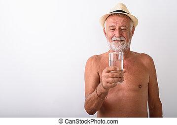 shirtless, vetro acqua, presa a terra, uomo senior