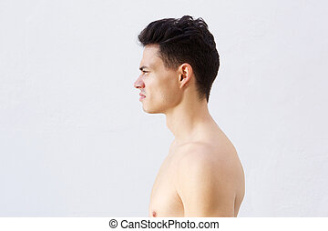 Shirtless young man with cool hairstyle