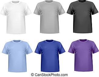 shirts., セット, 有色人種, vector.