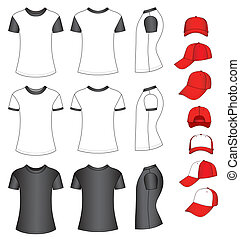 Shirts and baseball caps - Cap and shirts vector ...