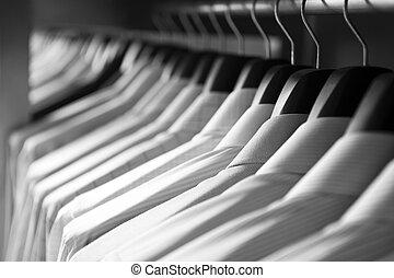 Shirts hanging stack, close up
