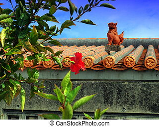 Shisa protects a house on a beautifully sunny day.