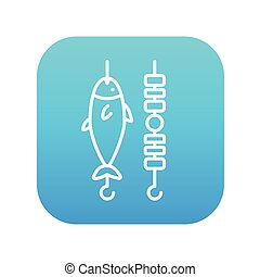Shish kebab and grilled fish line icon.