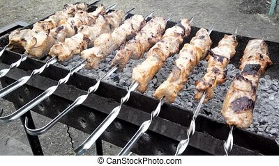 Shish kebab cooked on the grill