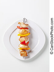 Shish kebab - Grilled meat and peppers on skewers