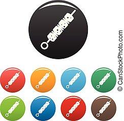 Shish kebab icons set color vector