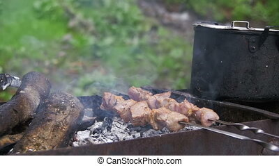 Shish Kebab is Cooked on the Grill in the Forest. Slow Motion