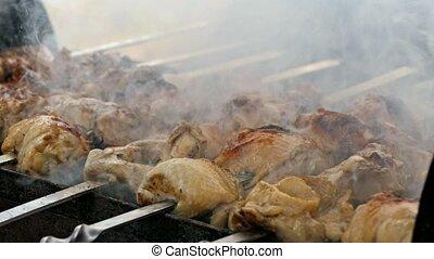shish kebab on skewers slow motion video - shish kebab on...