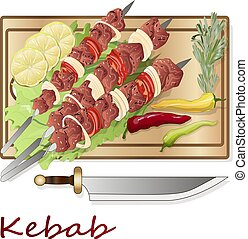 Shish kebab with onion and cherry tomato. Grilled meat skewers. Top view. Vector illustration