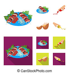 Shish kebab with vegetables, ketchup and mustard, seasoning for food, broken egg. Food and Cooking set collection icons in cartoon, flat style bitmap symbol stock illustration web.
