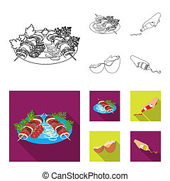 Shish kebab with vegetables, ketchup and mustard, seasoning for food, broken egg. Food and Cooking set collection icons in outline, flat style bitmap symbol stock illustration web.