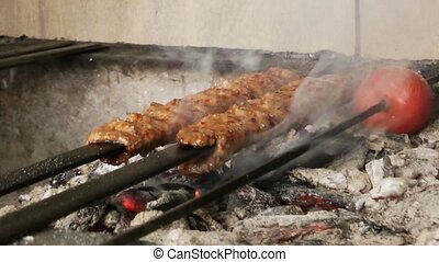 Shish Kebap Traditional Turkish Food on Barbecue Fire