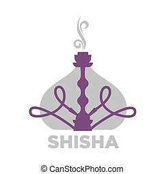 Shisha violet equipment for relaxation isolated on white