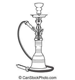 Shisha with pipe isolated on white background. Monochromatic...