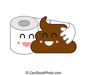 Shit and paper friends. Toilet Romatic. vector