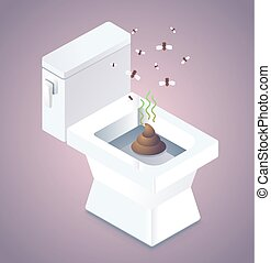 Shit in the toilet and flies illustration