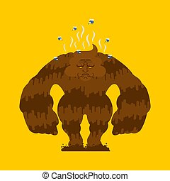Shit monster. Turd freak. Poop golliwog. Crap demon Vector illustration