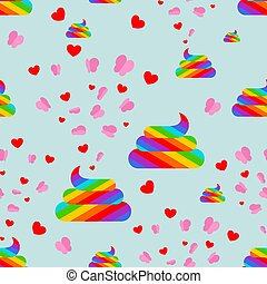 Shit unicorn and butterfly pattern seamless. Rainbow...