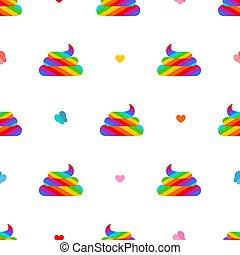 Shit unicorn pattern seamless. Rainbow multicolored turd...
