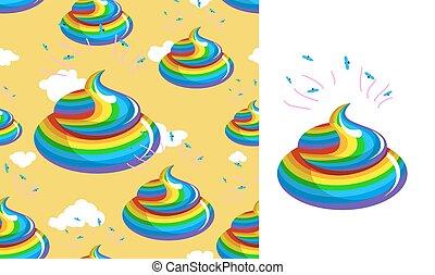Shit Unicorn pattern. Turd rainbow colors. Kal rainbow...
