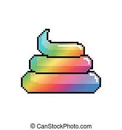 Shit Unicorn Pixel Art. Rainbow turd pixelated. Poop isolated