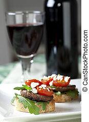 Shitake Mushroom Tapas and Red Wine - Shitake mushroom tapas...
