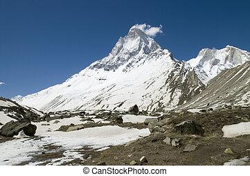 Shivling mountain, Himalayas - Shivling peak (6540m high) ...