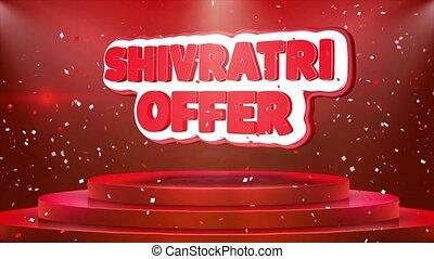 Shivratri Offer Text Animation Stage Podium Confetti Loop...