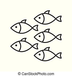 Shoal, group of fish icon, set of ocean life, line design...