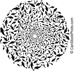 Shoal of fish swimming in circle - Scalable vectorial image...