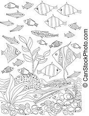 shoal of fishes and seaweed for your coloring book