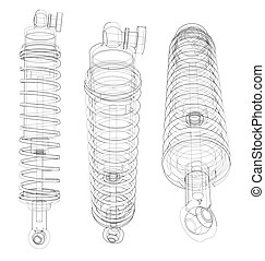 Shock absorber collection outline. Vector rendering of 3d....