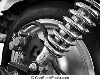 Close up of shock absorber motorcycle