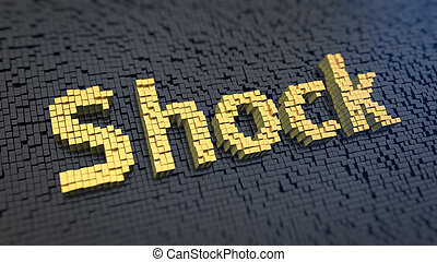 Shock cubics - Word 'Shock' of the yellow square pixels on a...