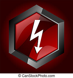 shock electricity electric storm lightning thunder flash hexagon dark red vector icon