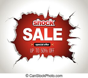 Shock sale banner on crack red wall