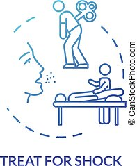 Shock treatment concept icon. Injury first aid, therapy step...