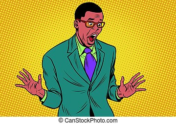 Shocked African American businessman
